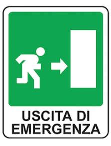 CARTELLO IN ALLUMINIO USCITA DI EMERGENZA DX