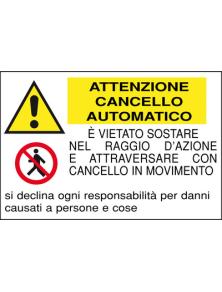 CARTELLO IN ALLUMINIO  926/A ATTENZIONE CANCELLO AUTOMATICO