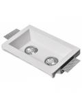 RECTANGULAR PLASTER SPOTLIGHT HOLDER 250X150X60MM 2XGU10 230V RECESSED
