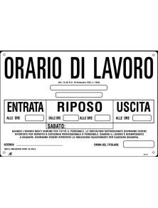 CARTELLO ORARIO DI LAVORO 30x20 cm