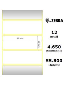 LABELS ZEBRA 38X13MM Z-ULTIMATE WHITE 12 PCS