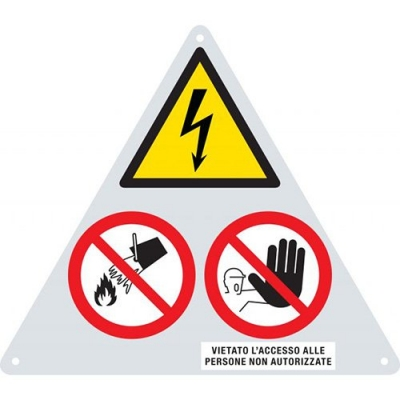 ALUMINUM SIGN FOR CABIN A DANGER TWO PROHIBITIONS.