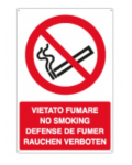 ALUMINUM SIGN FORBIDDEN TO SMOKE IN 4 LANGUAGES