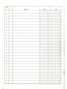 CONFEZIONE 5 REGISTRI ENTRATE-USCITE 100 pg. 24x17 cm. DATA UFFICIO