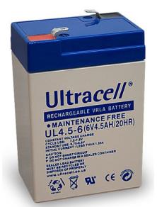 BATTERIA AL PIOMBO ULTRACELL UL4.5-6 RICARICABILE 6V 4,5 Ah