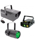 KIT SPECIAL EFFECTS - LED MOONFLOWER LASER WITH GRAPHIC AND MACHINE FOR ARTIFICIAL FOG